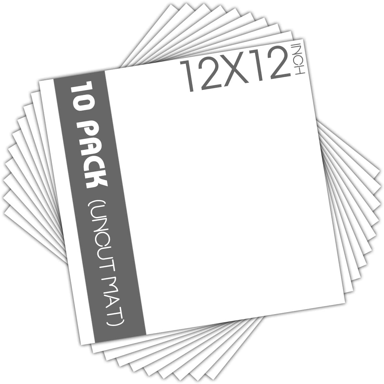 Mat Board Center, Pack of 10, 12x12 Uncut White Color Mats - Acid Free, 4-ply Thickness, White Core - for Pictures, Photos, Framing - Great for DIY Projects or Unique Picture Sizes