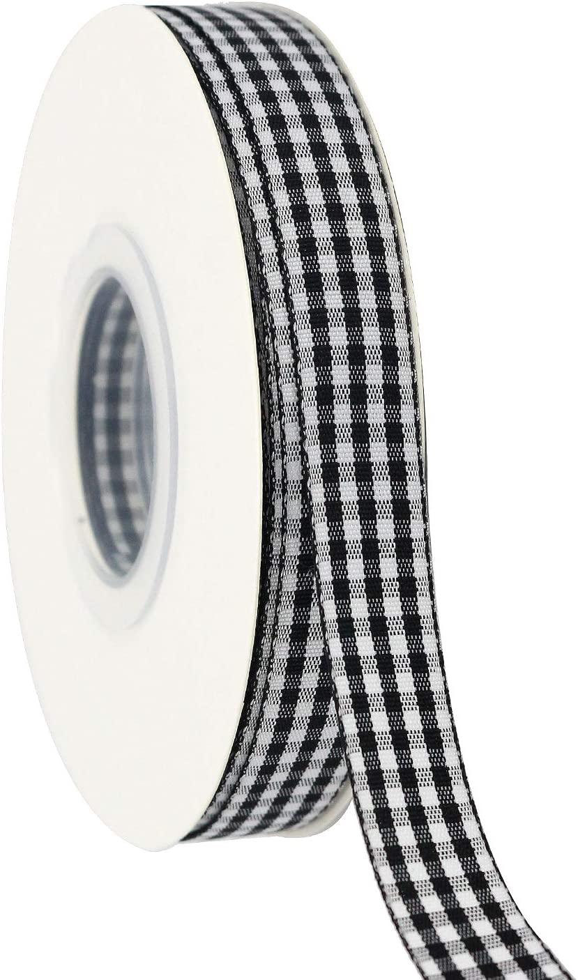 Midi Ribbon 5/8 inch Black White Gingham Ribbon Woven Edge 50 Continuous Yards