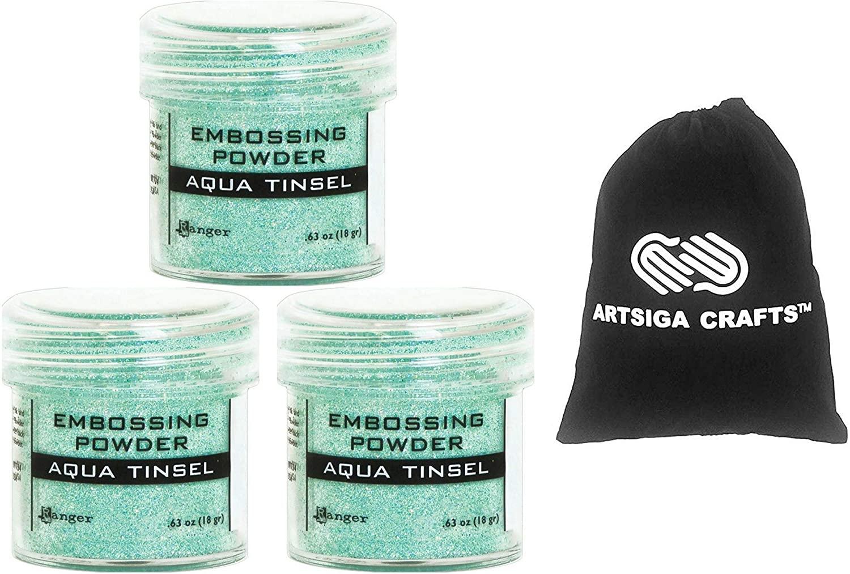 Ranger Ink Embossing Powder Aqua Tinsel 3-Pack Bundled with 1 Artsiga Crafts Small Project Bag