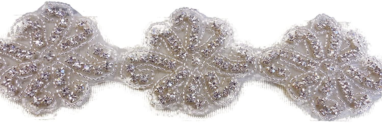 ModaTrims Hot-Fix or Sew-On Beaded Crystal Rhinestone Trim by Yard for Bridal Belt Wedding Sash (Clear Crystals, Silver Beads, Silver Cups, 1 Yard x 2 Inch Wide)