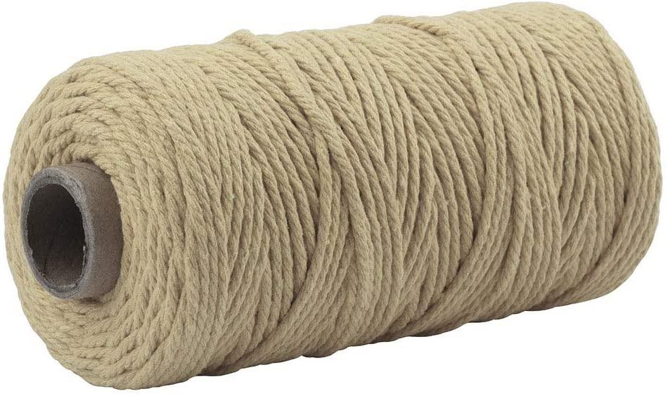 Macrame Cord 3mm 109 Yard 100% Natural Cotton Wall Hanging Plant Hanger DIY Craft Making Knitting Cord Rope Christmas Wedding Decor (Khaki)