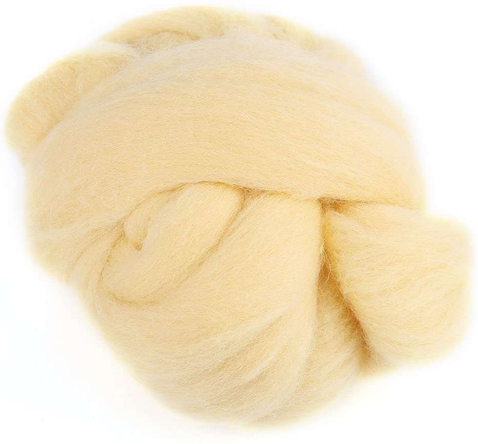 Felting Wool, 8Colors 55g Colored Needle Felting Wool Roving Spinning Sewing Trimming Handiwork Material(Cream)