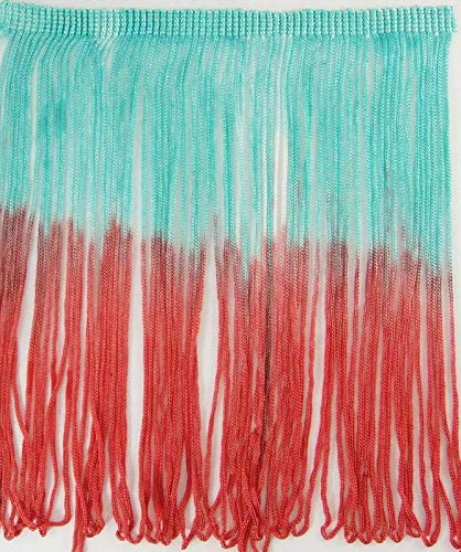 2 Yards Ombre Tie-Dye Multicolor Chainette Thread Yarn Tonal Loop Fringe- Sewing Quilting Renaissance Dance Hawaiian Costumes Outfit Drapery- 7