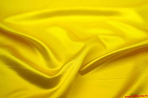 VDS Satin Fabric by The Yard for Wedding Bridal Decoration and Party Supplies Silky Satin 44''inch by The Yard Fabric (10 Yard Yellow)