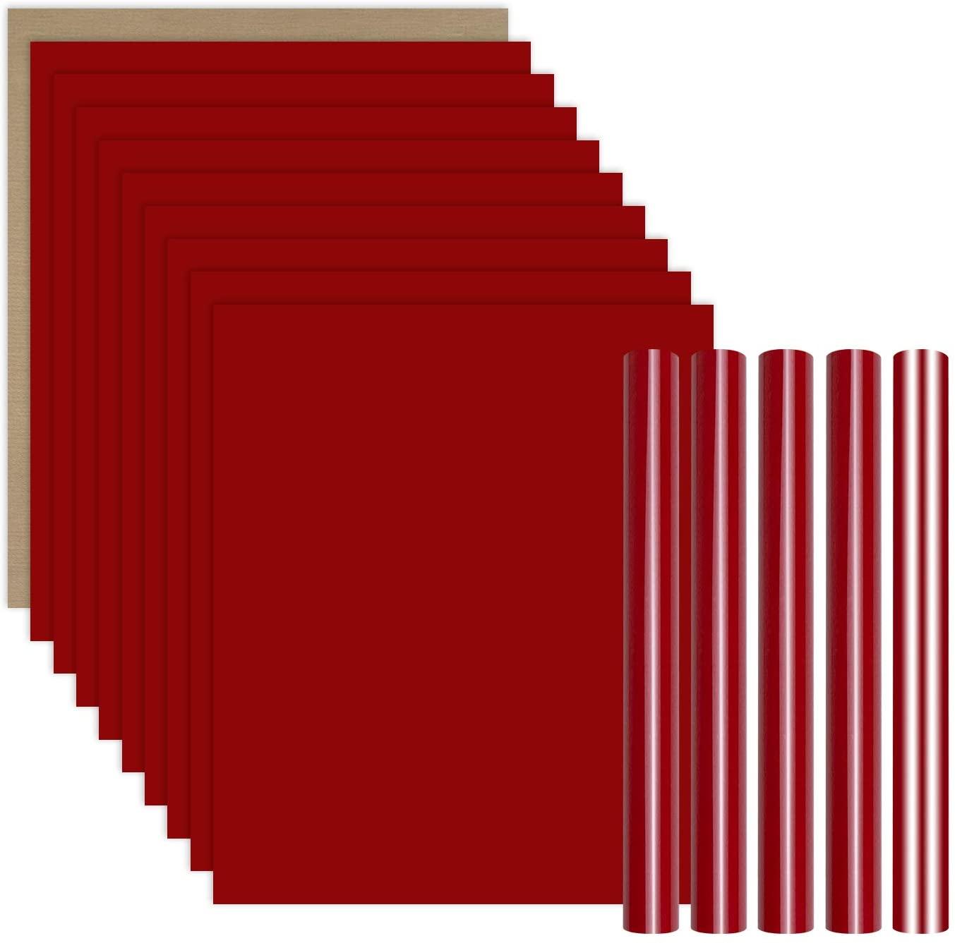 YRYM HT Red Heat Transfer Vinyl Bundle : 15 Pack 12 x 10 Sheets - Red Iron on Vinyl for DIY Iron on Fabrics T-Shirts Heat Press Machine