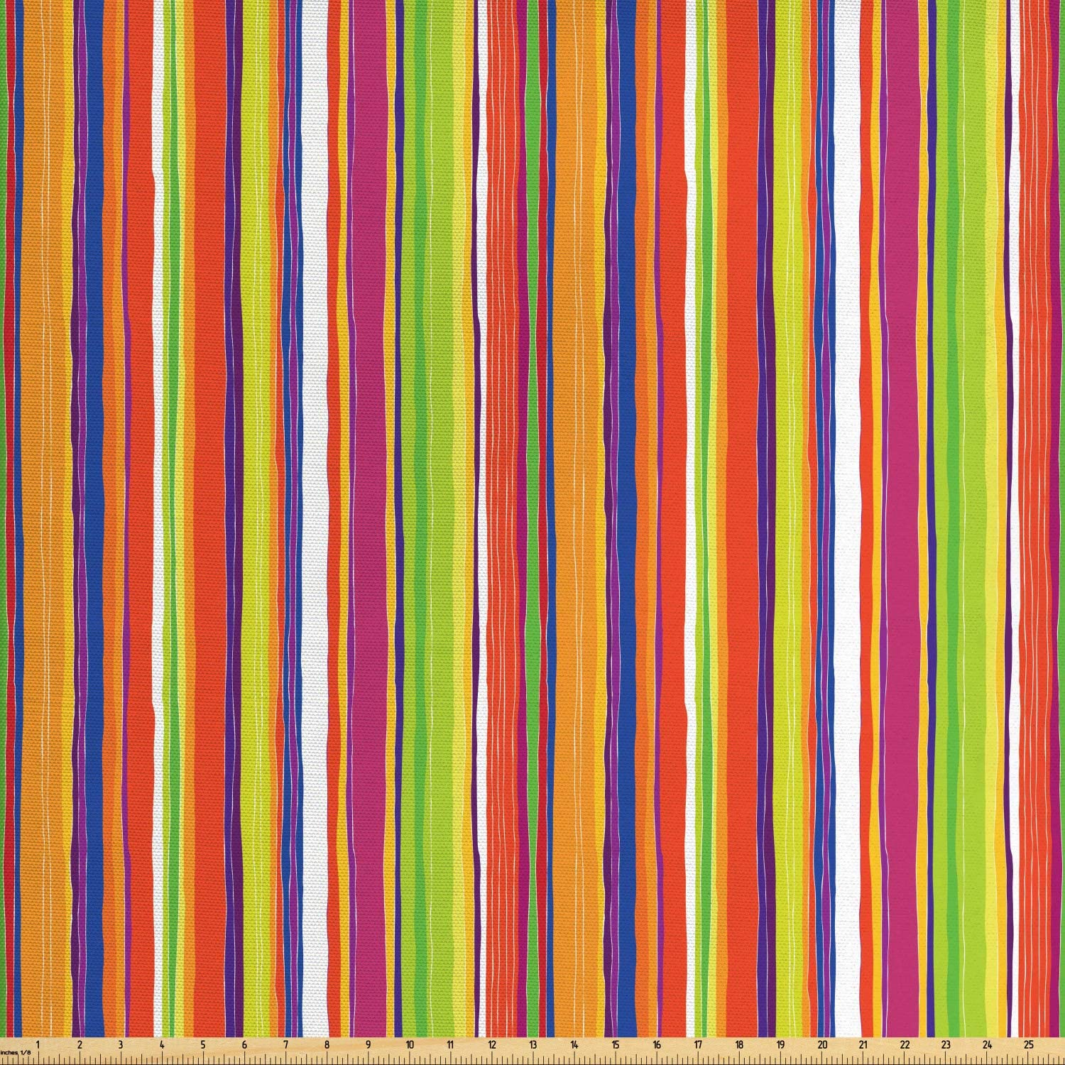 Ambesonne Stripes Fabric by The Yard, Hand Drawn Barcode Style Lines Rainbow Colored Abstract Geometric Illustration, Decorative Fabric for Upholstery and Home Accents, 1 Yard, Green Orange