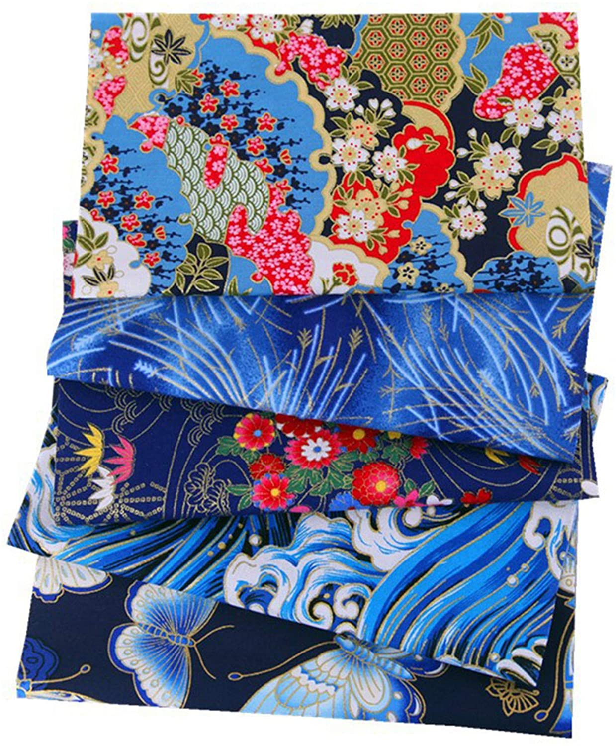 5 PCS Cotton Fabric Craft Quilting Sewing Fabric Patchwork 20cm x 25cm Cute Japanese Style Mixed Pattern Cotton Fabric,for DIY Patchwork Precut Sewing