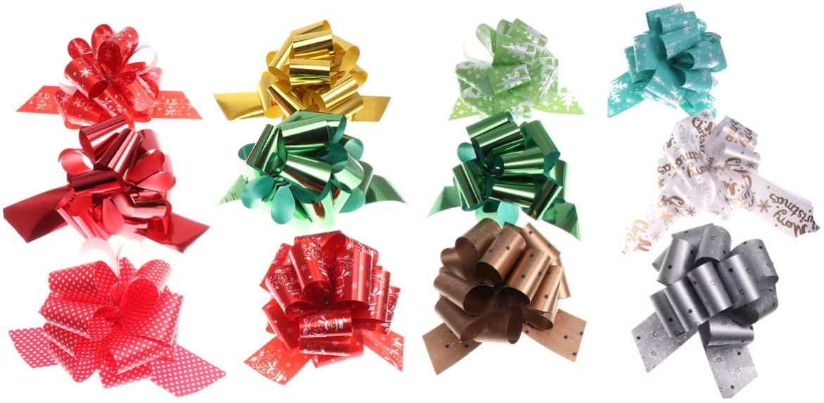 LIOOBO Pack of 36 Christmas Pull Bows Gift Manual Ribbons Wedding Decoration DIY for Gift Package Decor