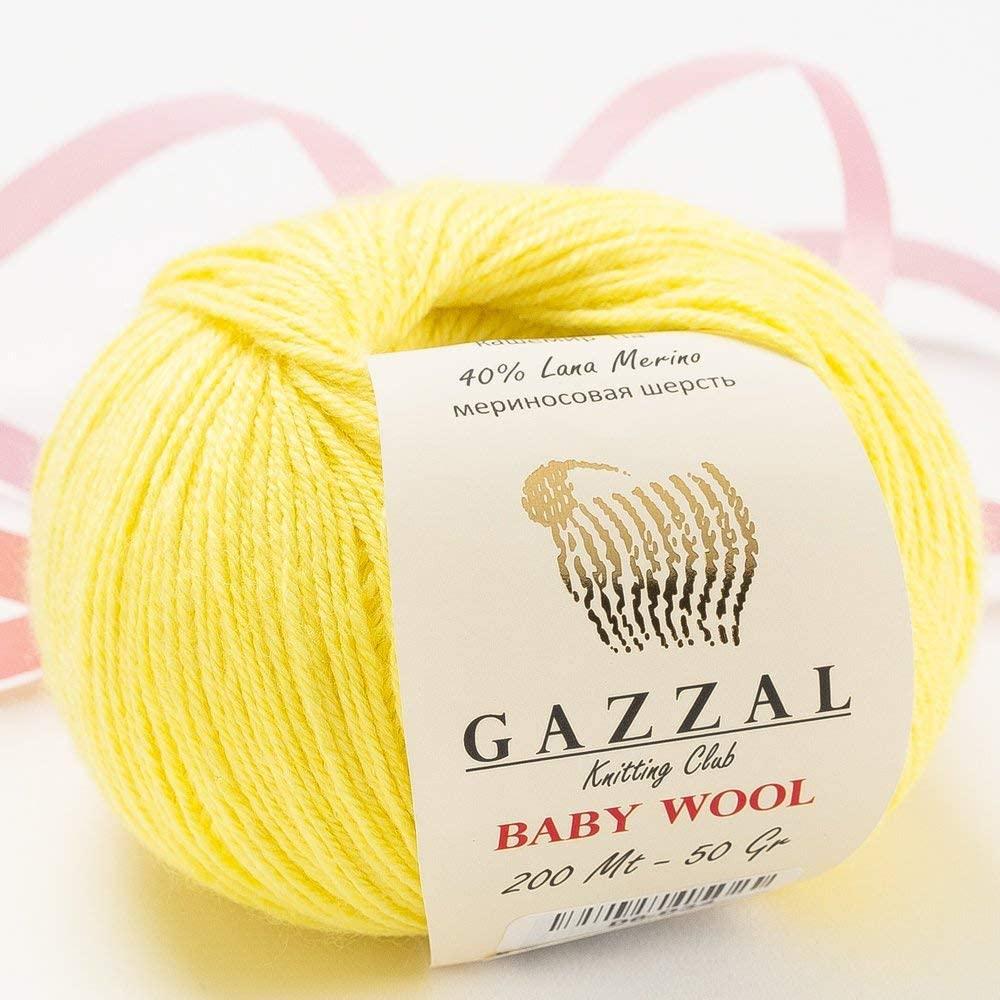5 Pack - Total 8.8 Oz Gazzal Baby Wool 1.76 Oz (50g) / 191 Yards (175m) Fine Baby Yarn, 40% Lana Merino, 20% Cashmere Type Polyamide, Yellow - 833