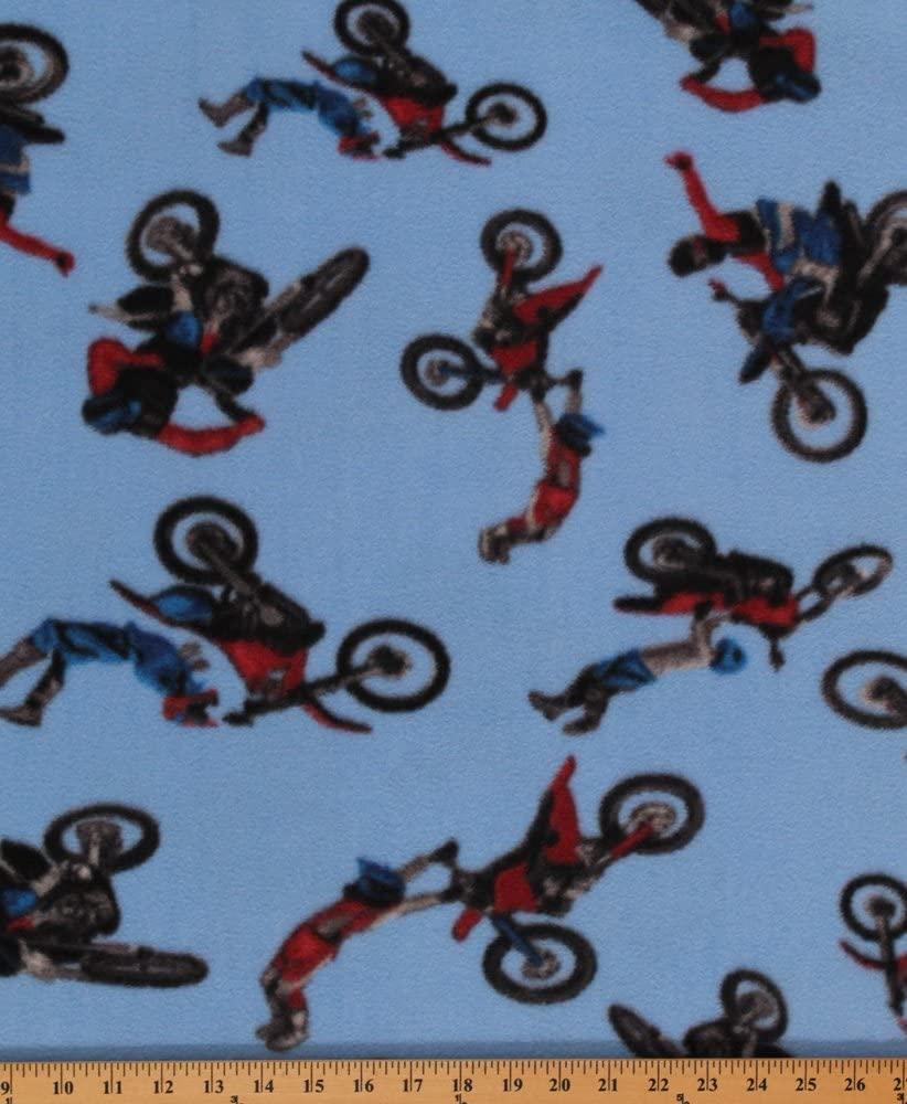 Fleece (not for masks) Motocross on Blue Sports Dirt Bike Fleece Fabric Print by The Yard (s471s)