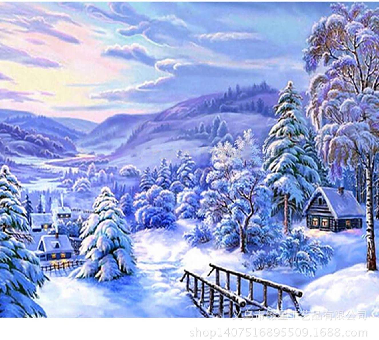 Bimkole DIY 5D Diamond Painting Kit Winter Landscape by Number Kits Paint with Diamonds Arts DIY for Home Decor, 16x20 inch(m4-888)