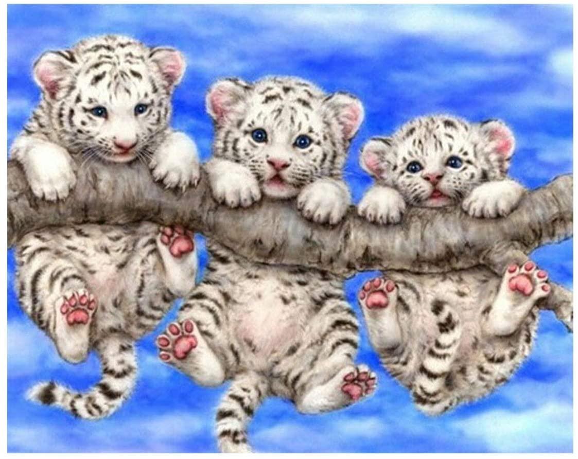 5D Full Drilled Round Beads Needlework Diy Diamond Painting Cross Stitch Diamond Embroidery Little Cute Tiger (40x40)CM