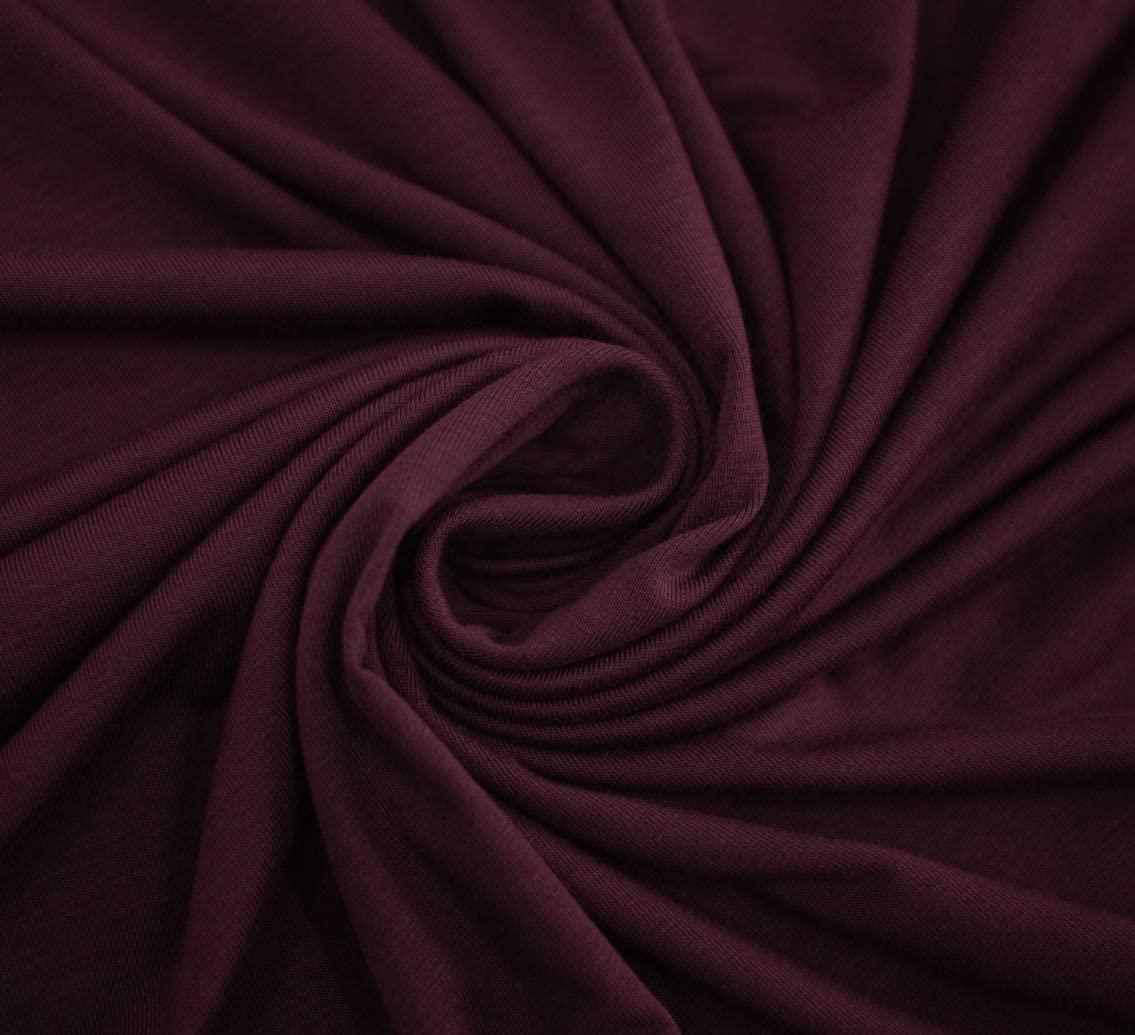 "UNOMEGA 58"" Rayon Spandex Jersey Knit Fabric Oeko-Tex Dye by The Yard - 1 Yard (DK Wine)"