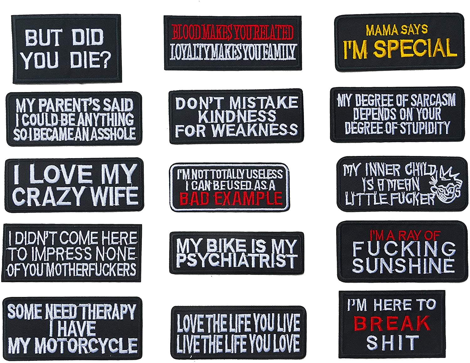 Graphic Dust 15 pcs Funny Assorted Iron on Embroidered Patches Biker Motorcycle Word Slogan Speech Quote Jean Jacket Backpack (Black - Funny1)