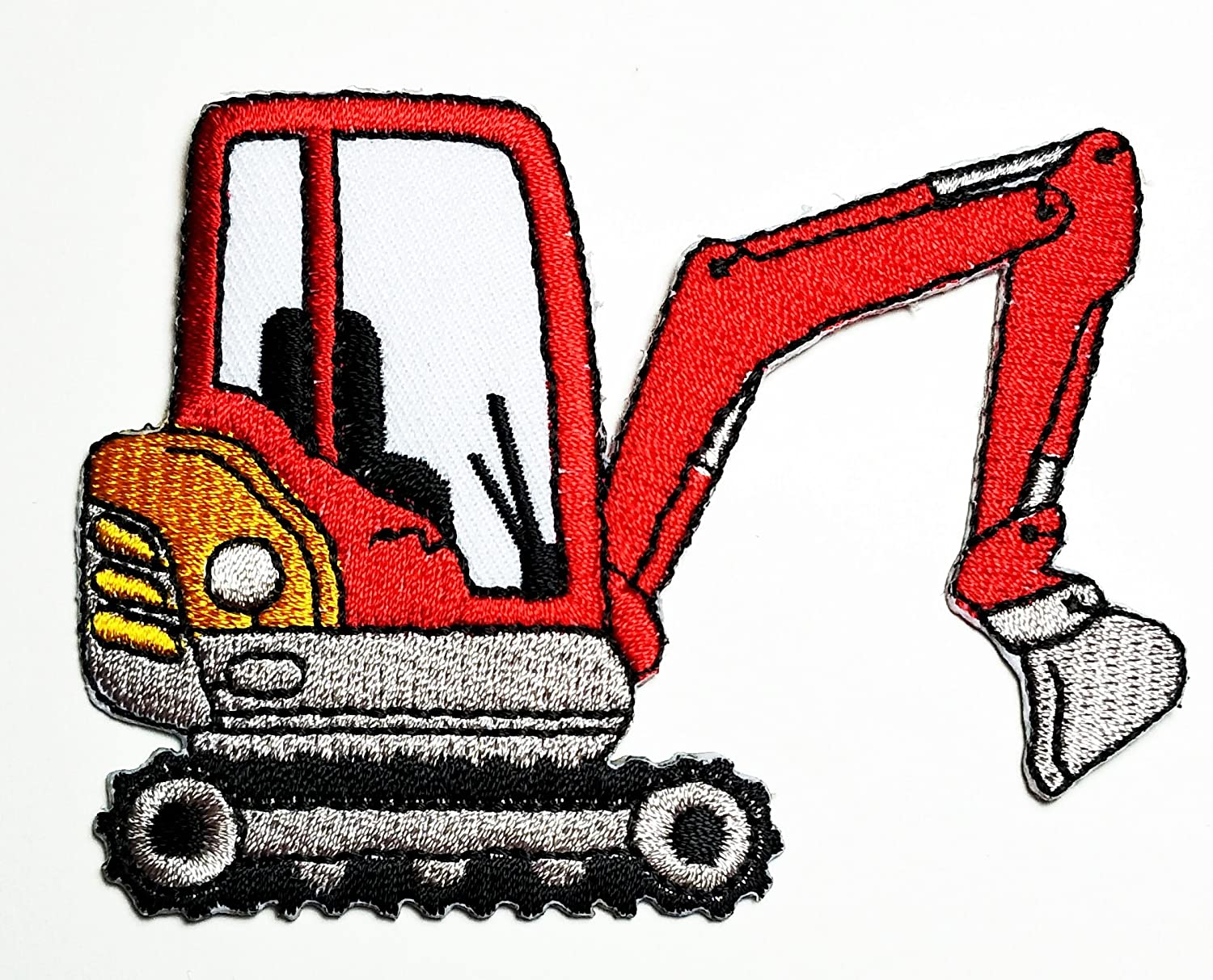 HHO Backhoe Digger Tractor Loader trackhoe Bulldozer Embroidered Patch Embroidered DIY Patches, Cute Applique Sew Iron on Kids Craft Patch for Bags Jackets Jeans Clothes
