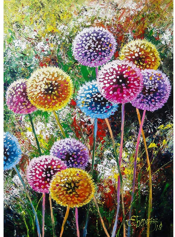 DIY 5D Diamond Painting Kits for Adults & Kids Dandelion Flowers Full Drill Round Diamond Crystal Gem Art Painting Perfect for Home Wall Decor Gift (12x16inch)