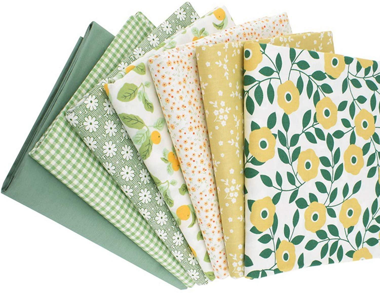 7 PCS Cotton Fat Quarters Quilting Fabric Bundles, Sewing Floral Pattern Precut Patchwork Fabric for Craft DIY Handicraft 20 x 20
