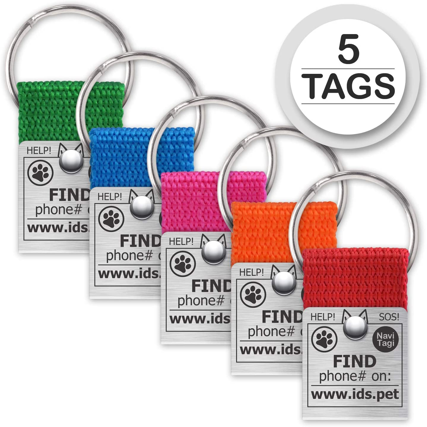 NaviTagi Color Pet ID Tags for Small/Medium/Large Dogs, Cats. Personalized w/ID Number. Reliable Design, Strong Stainless Steel Ring. 2 Phones Updatable Online, Name Safe
