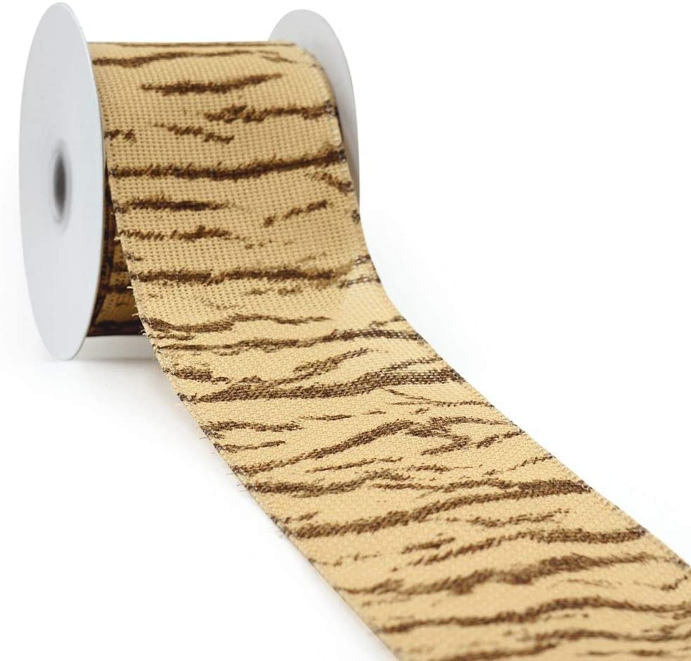 CT CRAFT LLC Natural Faux Jute Print Brown Zebra Wired Ribbon - 2.5 Inch x 10 Yards x 1 Roll