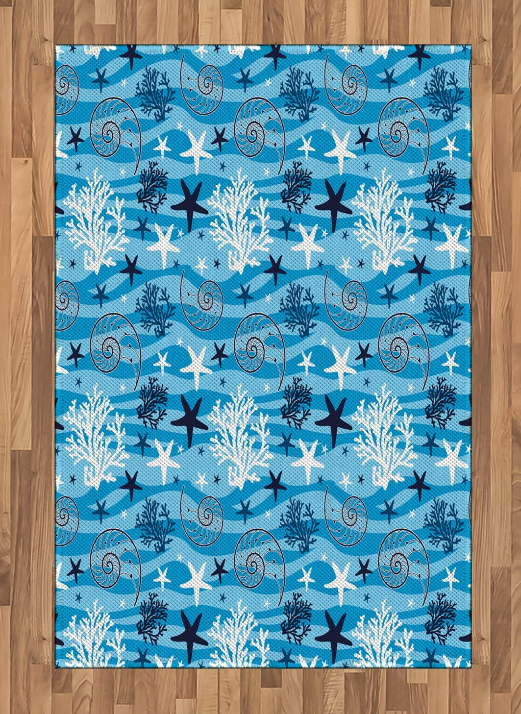Ambesonne Sea Shells Area Rug, Abstract Horizontal Wavy Lines with Starfish Silhouettes and Scallops, Flat Woven Accent Rug for Living Room Bedroom Dining Room, 4' X 5.7', Blue Dark Blue White