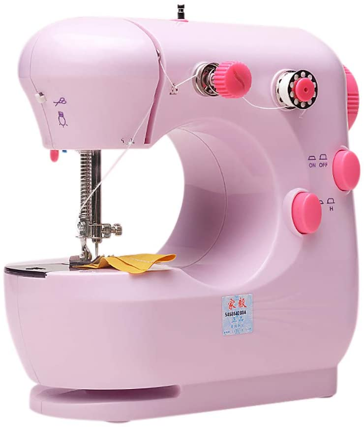 MOMFEI 2020 Mini Handheld Sewing Machine Dual Speed Double Thread with Light Multi-Function Electric Automatic Tread Rewind Sewing Tools Suitable for All Sewing Machine Users (Double Thread Pink)