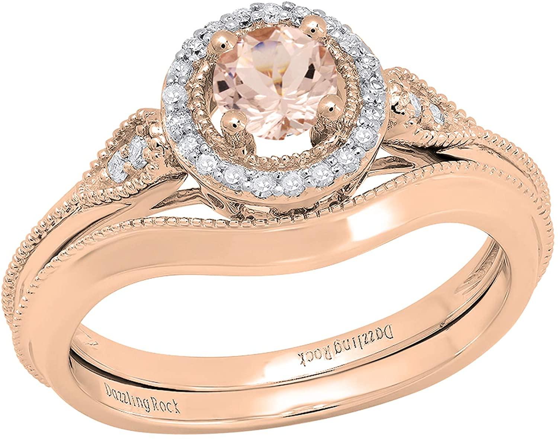 Dazzlingrock Collection 10K 4.5 MM Round Gemstone & Diamond Ladies Bridal Vintage Engagement Ring Set, Rose Gold