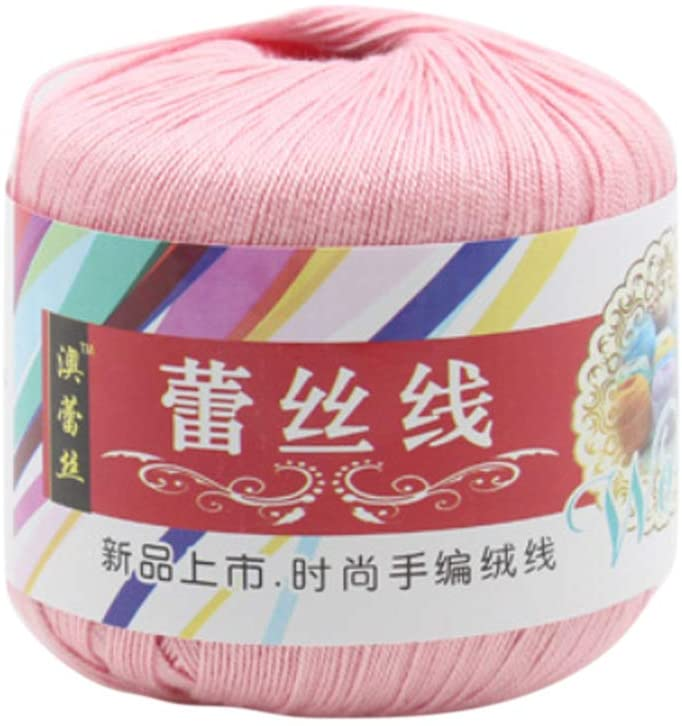 QINREN Mercerized Cotton Cord Thread Yarn for DIY Embroidery Crochet Knitting Lace Sewing Accessories,Light Pink,Mercerized Cotton