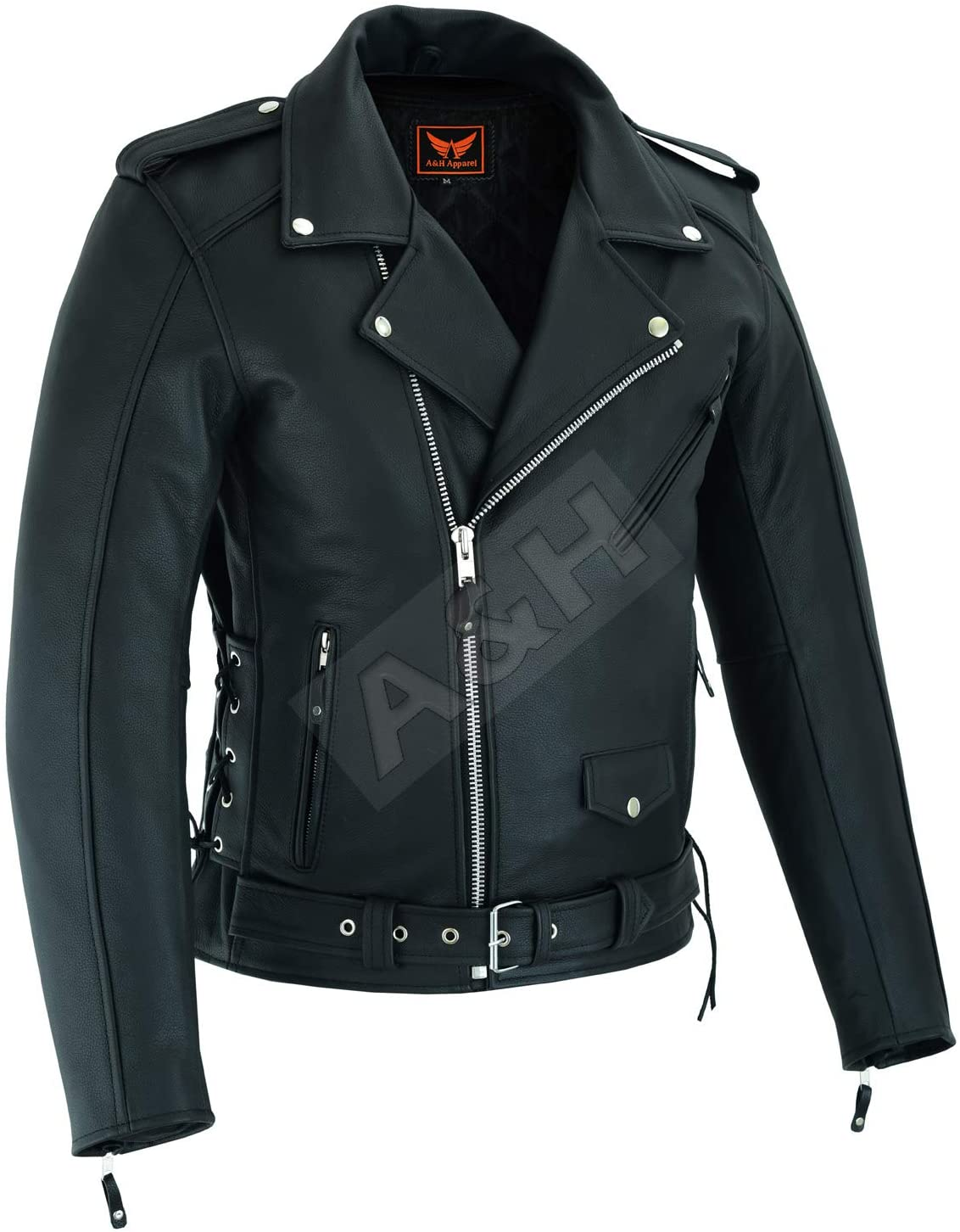 A&H Apparel Mens Leather Motorcycle Top-Grain Buffalo Jacket Genuine Zip Out Lining Jacket (X-Large)