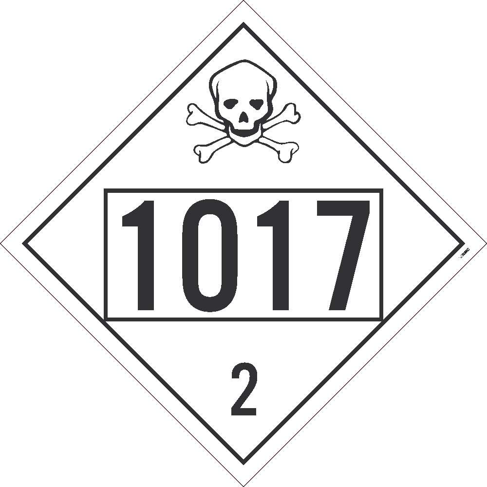 NMC DL72BTB10 Safety Sign Placard, Chlorine, Four Digit 1017, 10.75X10.75, Tag Board, Card Stock, Pack 10