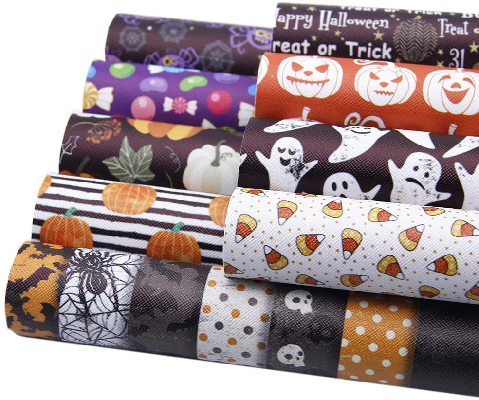 David Angie Halloween Theme Faux Leather Sheet 9 PCS Synthetic Leather Fabric 8