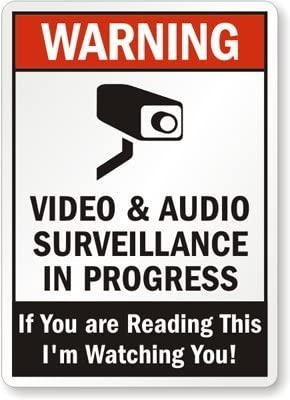 Tin Wall Art 8x12 Safety Metal Sign Warning - Video & Audio Surveillance in Progress, If You are Reading This Im Watching You! Outdoor Yard Sign Office Street Caution