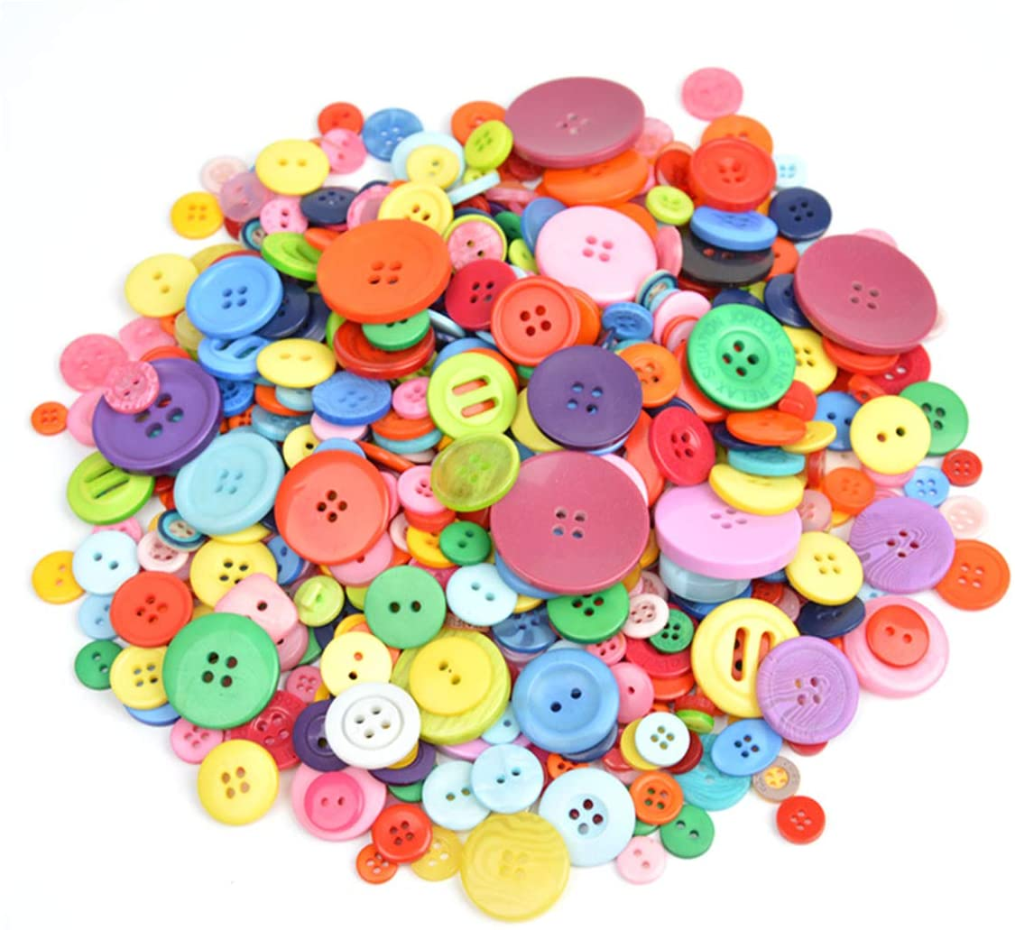 600+ Pcs Assorted Size Resin Buttons Craft Buttons, 2 and 4 Holes Round Craft Sewing Buttons for Art & Crafts Projects DIY Decoration, DIY Crafts Childrens Manual Button Painting (Mixed Color)