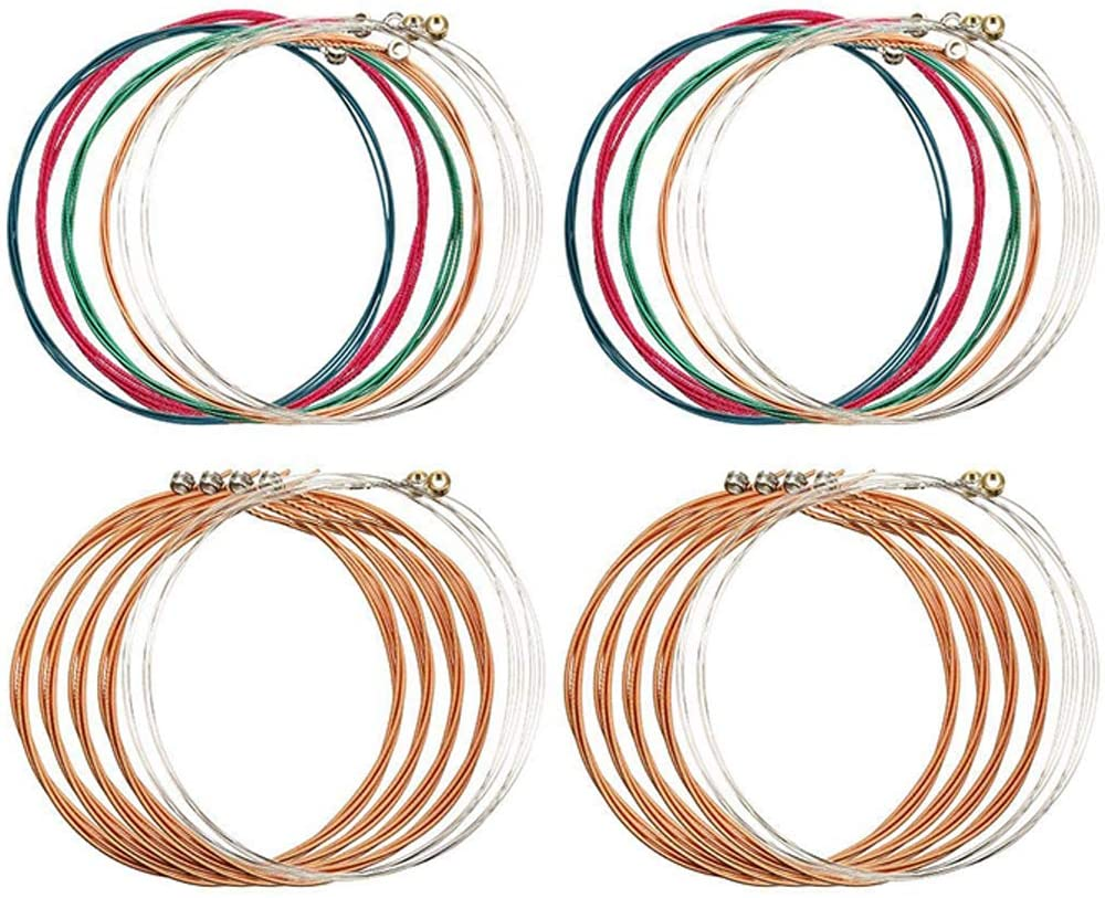 YEEHO 4 Sets of 6 Guitar Strings Replacement Steel String for Acoustic Guitar (2 Copper Set and 2 Multicolor Set) for Electric Acoustic Guitar Beginners Performers