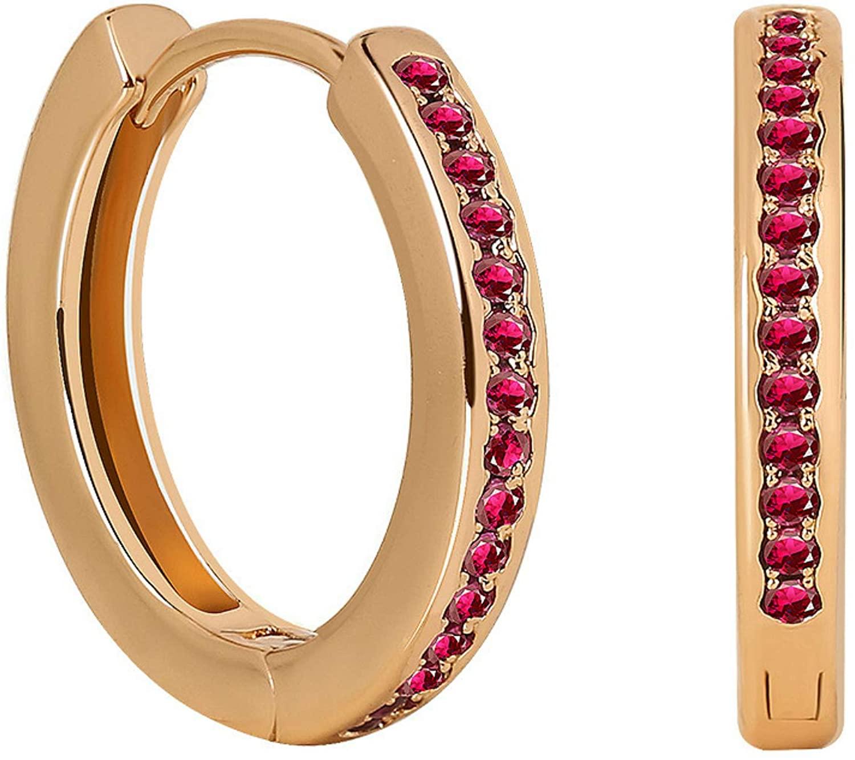 EXCROLY Women Small Hoop Earrings 18K Gold Plated Sterling Silver Cubic Zirconia Huggie Hoop Earrings for Women