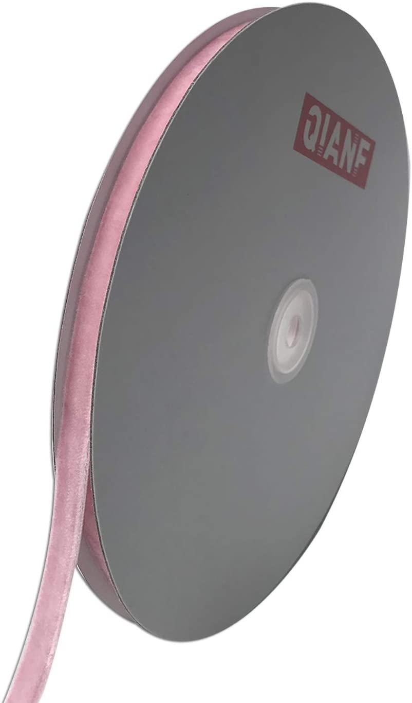 QIANF Vintage Pink Velvet Ribbon, 3/8 Inch X 25Yd