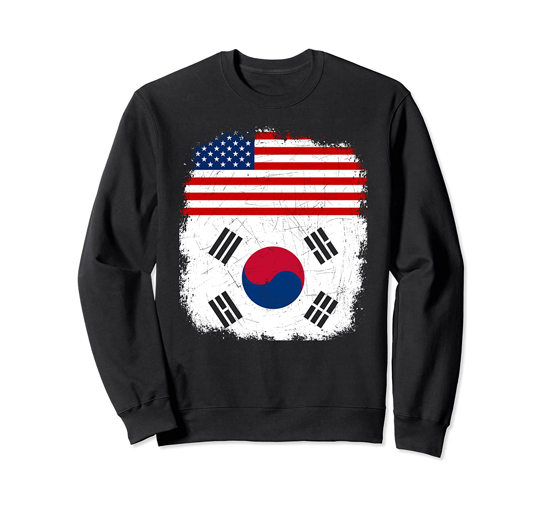 Half South Koreans American Flag Vintage USA South Korea Sweatshirt