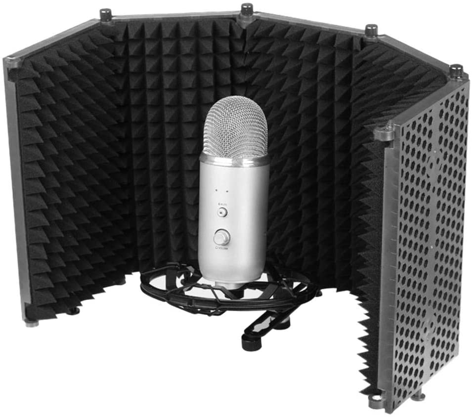 N/D Studio Recording Microphone Isolation Shield Large, Adjustable 5-Panel Pop Filter and Isolation Shield, Compatible with Any Condenser Microphon