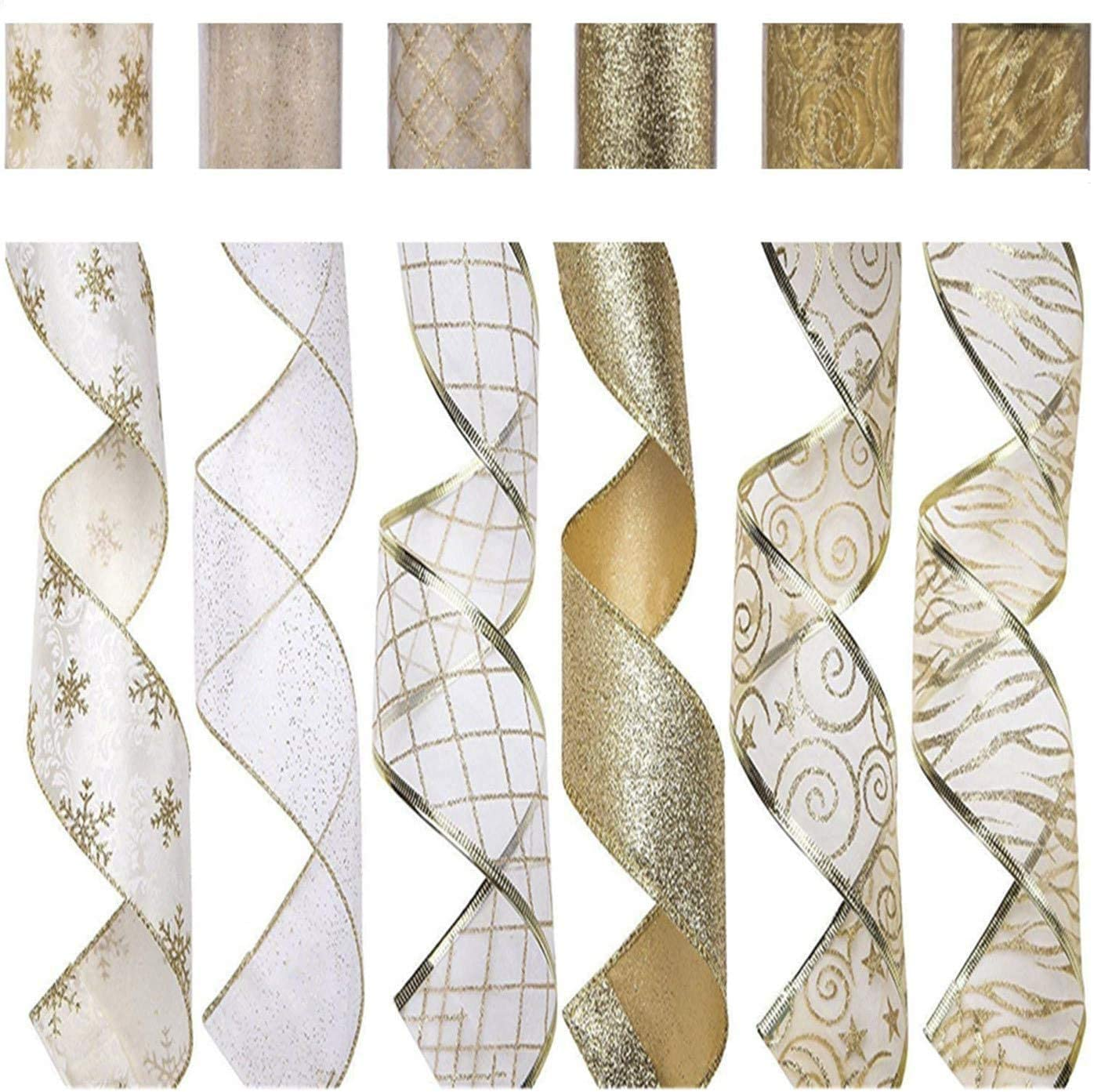 SANNO 2.5 inch 6 Rolls 36 Yards Christmas Wired Ribbon White Gold Wired Ribbon Bows Trim Assorted Organza Swirl Sheer Glitter Crafts Gift Wrapping Ribbons Holiday Wreath Decorations
