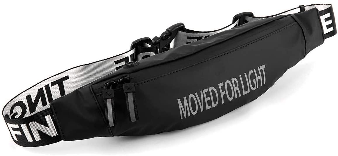 JUTENG Running Belt Waist Pack, Reflective Sport Waist Pouch Fitness Workout Belt, Water Resistant Adjustable for iPhone 8 X 7 6+ 5s in Hiking Cycling Marathon Exercise Gym for Men Women