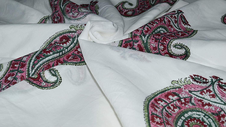 Indian Handmade Hand Block Print Pure 100% Cotton Sanganeri Print Pink Green Color Big Flower & Leaf Printed Fabric Dressmaking Fabric Art and Craft Fabric 10 Yard Fabric