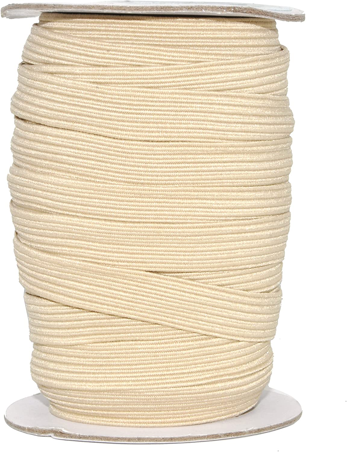 Mandala Crafts Flat Elastic Band, Braided Stretch Strap Cord Roll for Sewing and Crafting; 1/2 inch 12mm 20 Yards Cream