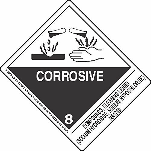 GC Labels-L303P3091, Compounds, Cleaning Liquid (Sodium Hydroxide, Sodium Hypochlorite) NA1760, Roll of 500 Labels