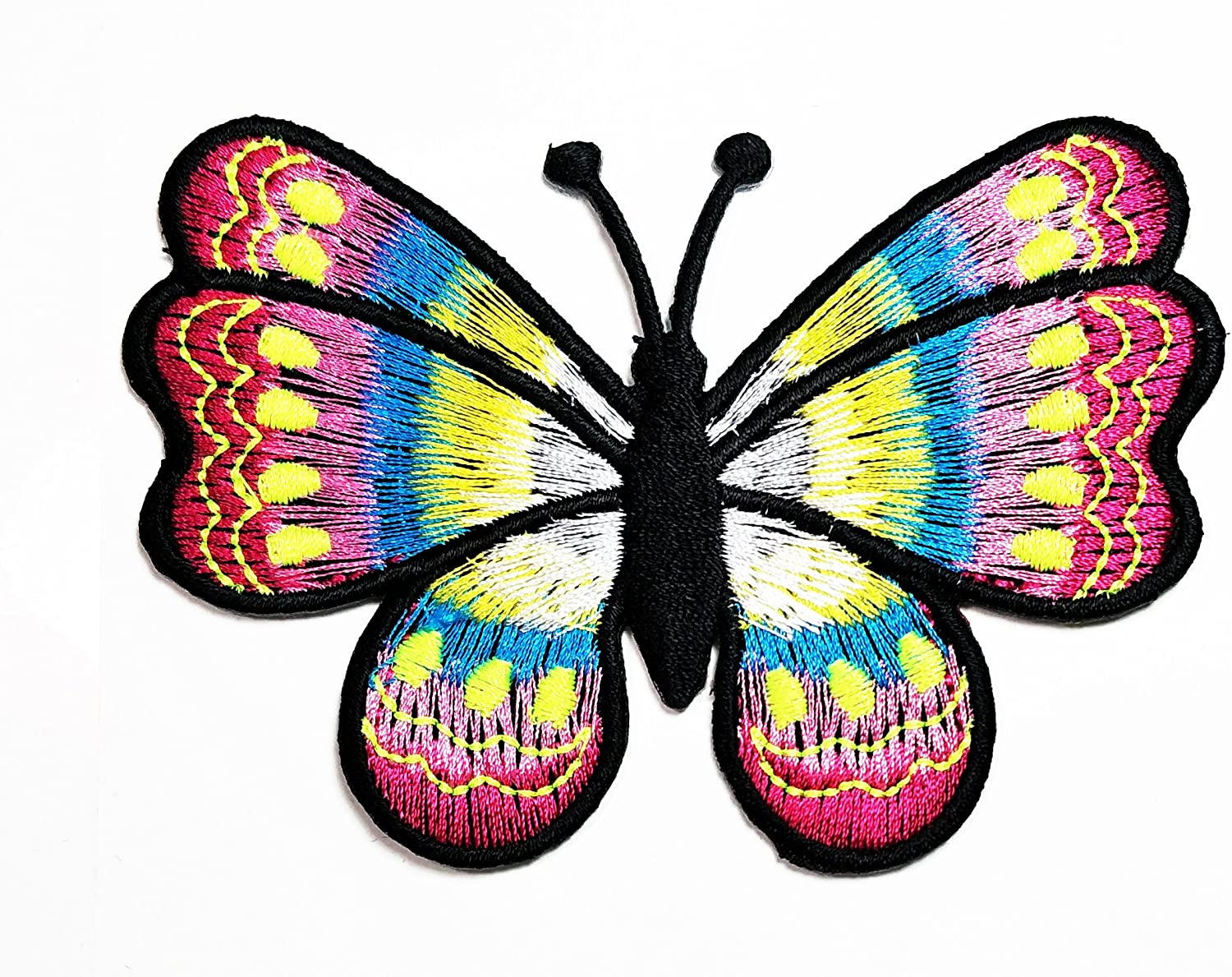 HHO Colorful Butterfly Insect Boho Hippie Retro Love Peace Patch Embroidered DIY Patches, Cute Applique Sew Iron on Kids Craft Patch for Bags Jackets Jeans Clothes