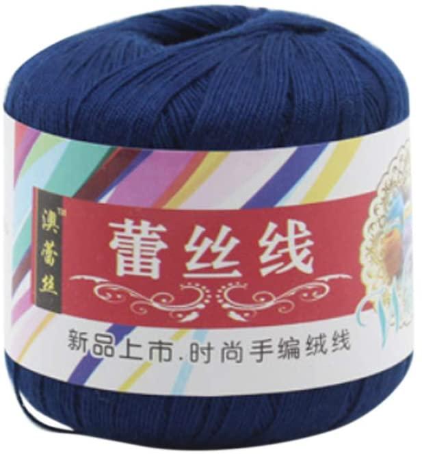 QINREN Mercerized Cotton Cord Thread Yarn for DIY Embroidery Crochet Knitting Lace Sewing Accessories,Dark Blue,Mercerized Cotton