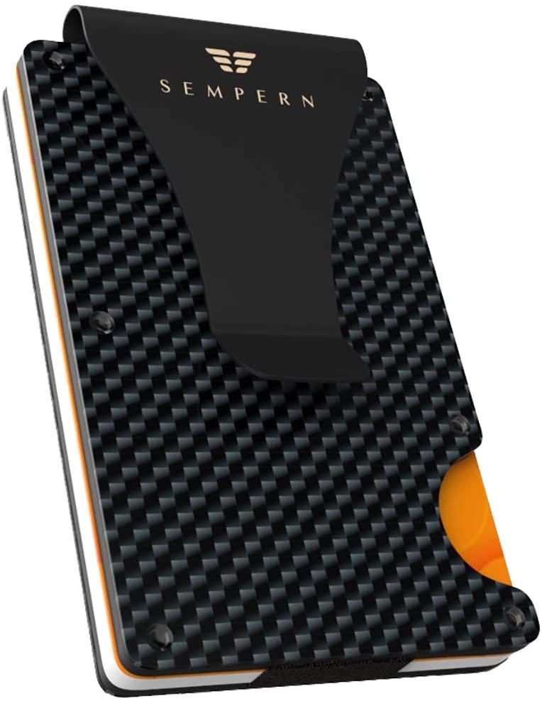 Carbon Fiber Slim Wallet - Metal Wallet - RFID blocking Wallet   Up to 12 cards - Front Pocket Black Wallet for Men, Credit Card Holder - Gift Box