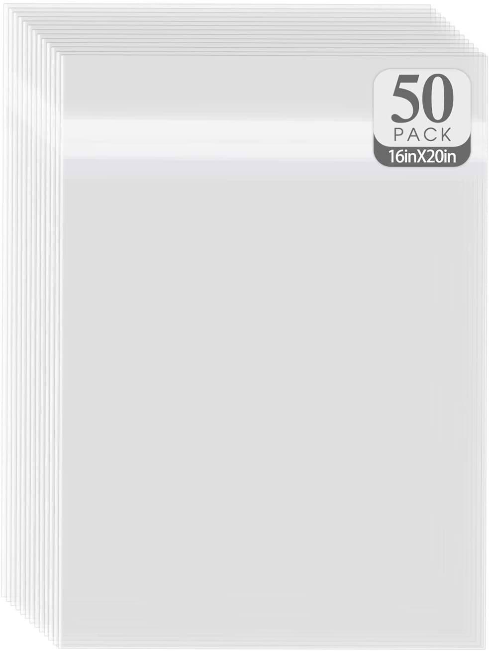 Golden State Art, Pack of 50 16 3/8x20 1/8 Crystal Clear Bag