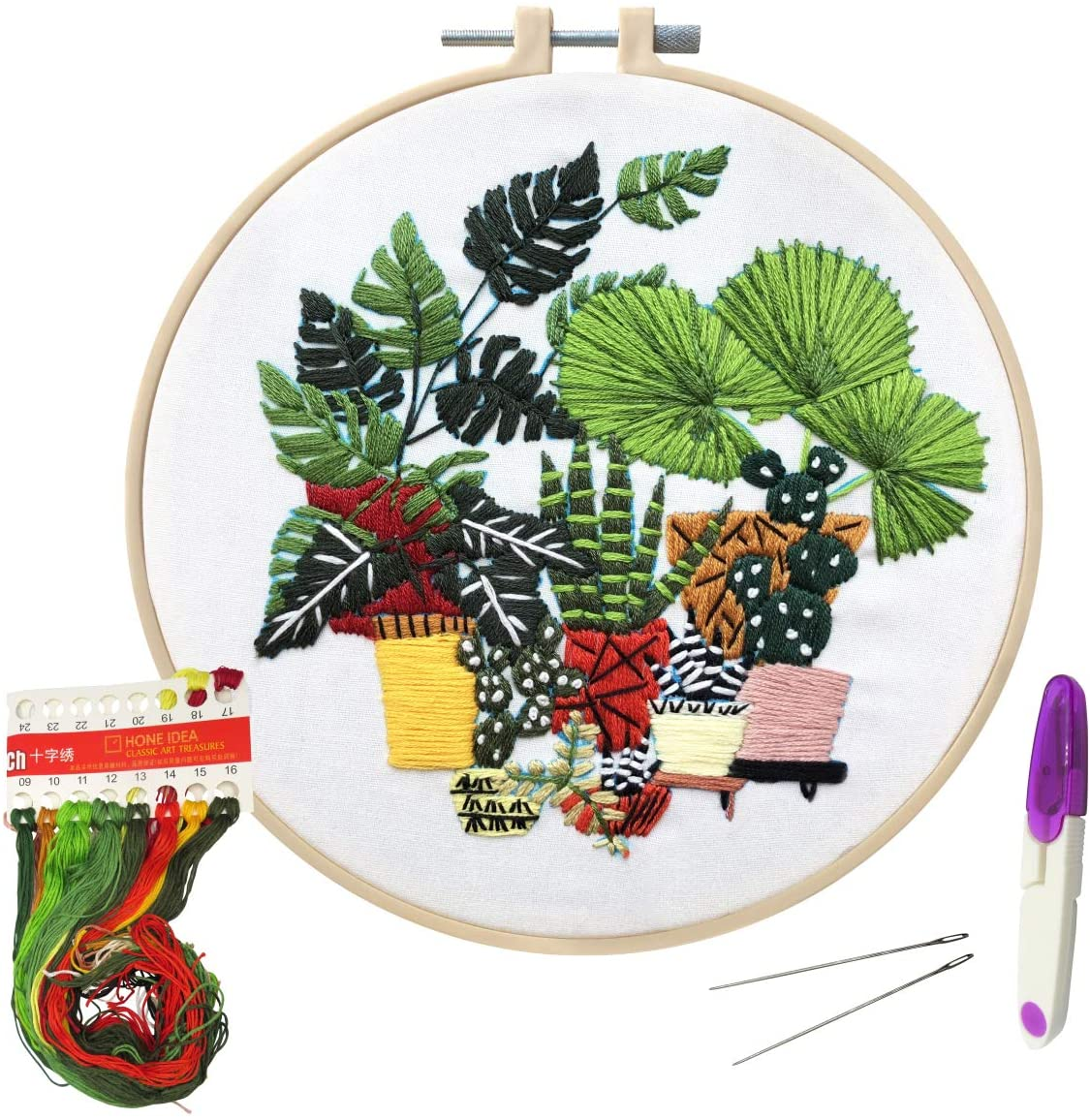 Cross Stitch Stamped Embroidery Kit- Full Range of Stamped Embroidery Kits for DIY Beginner Starter-Including Color Pattern Embroidery Cloth,Embroidery Hoop,Color Threads,Tools (Color 4)