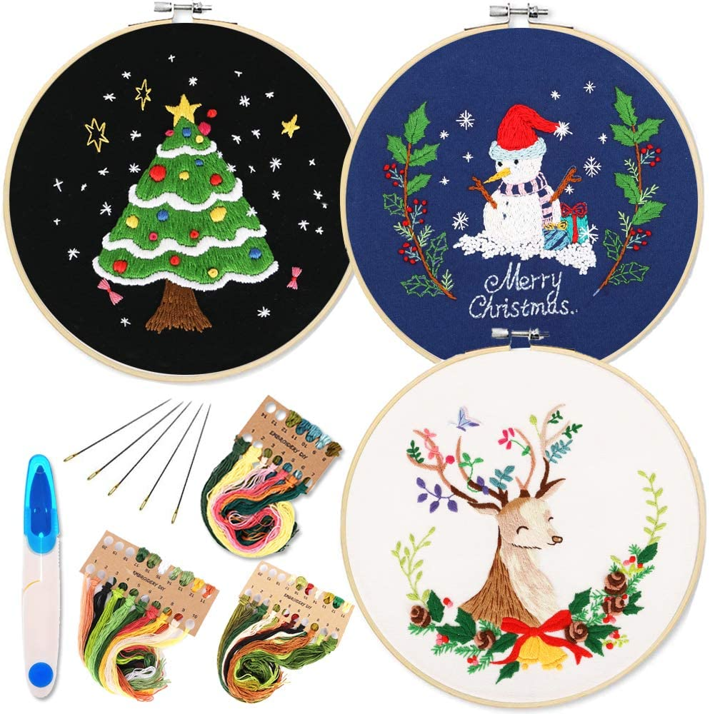 3 Pack Embroidery Starter Kit with Christmas Tree Snowman Reindeer Pattern and Instructions, Full Range of Stamped Embroidery Kits with 3 Embroidery Clothes, 1 Embroidery Hoops