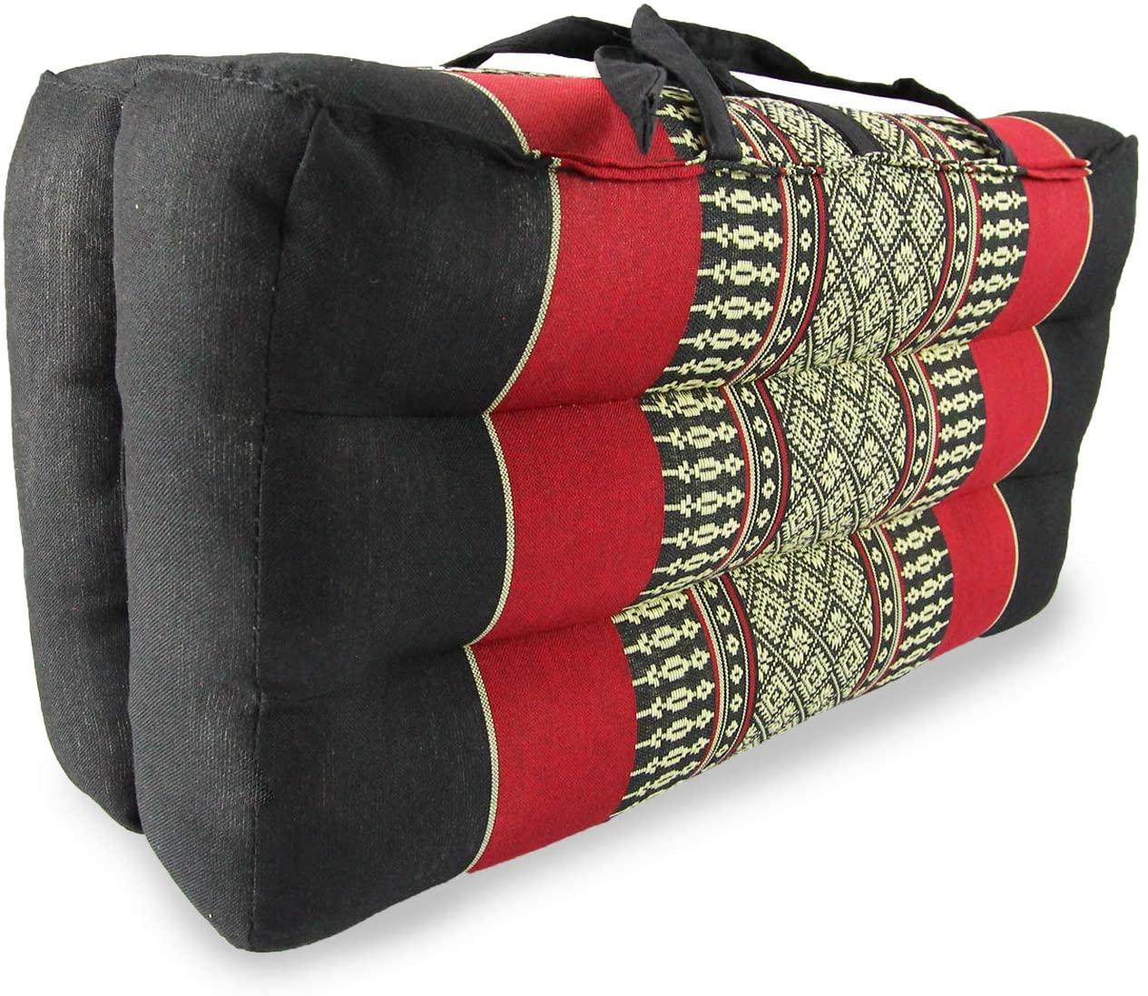Avran Kapok Folding Yoga and Floor Cushion, 15 Inch (Thai Red Black)
