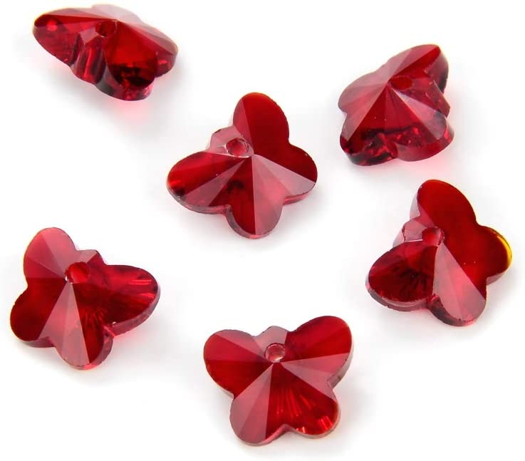 50pcs 10mm Czech Top Drilled Butterfly Crystal Pendant January Siam Red Birthstone Drop Beads for Jewelry Craft Making CCBH-5
